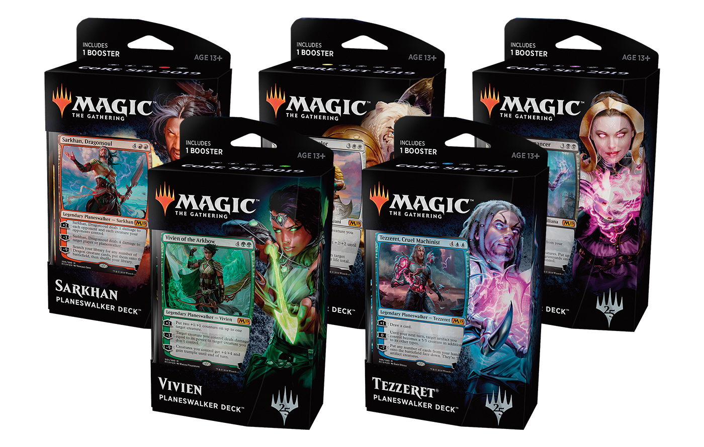 Core Set 2019 Planeswalker Deck -- Set of 5