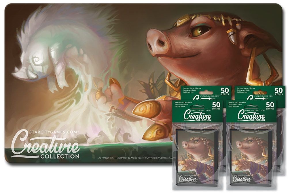 StarCityGames.com Player Bundle - Creature Collection - Pig Through Time (Playmat and 4x Matte Sleeves)