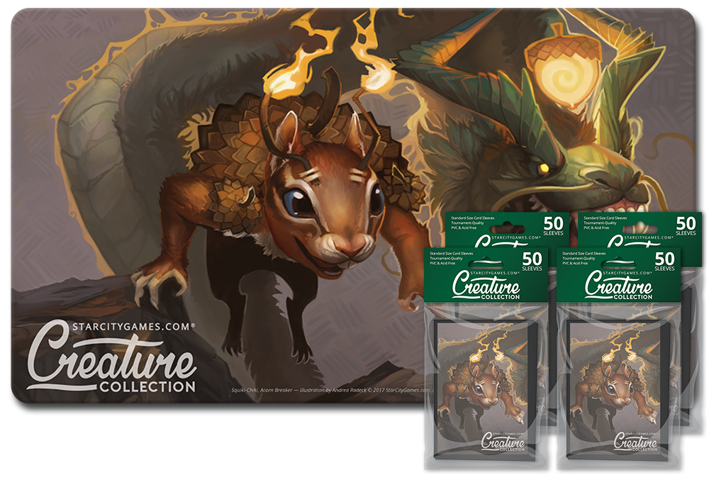 StarCityGames.com Player Bundle - Creature Collection - Squiki-Chiki, Acorn Breaker (Playmat and 4x Matte Sleeves)