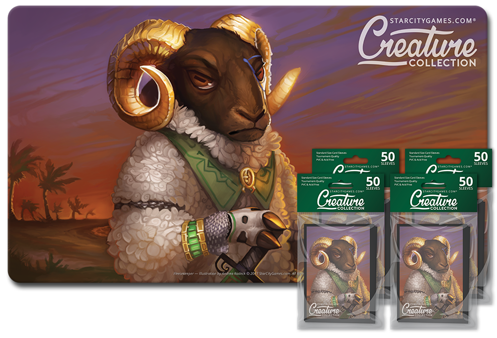 StarCityGames.com Player Bundle - Creature Collection - Fleecekeeper (Playmat and 4x Matte Sleeves)
