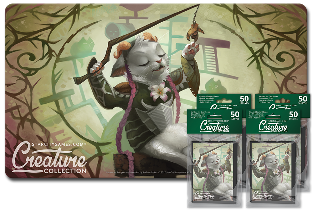 StarCityGames.com Player Bundle - Creature Collection - Imperious Purrfect (Playmat and 4x Matte Sleeves)