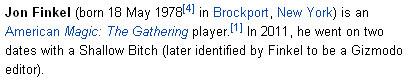 Wikipedia jon finkel  finkeldate