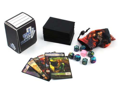 Deckbox, deck, tokens and dice
