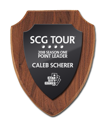 SCG TOUR plaque for 2018 Season One Point Leader Caleb Scherer